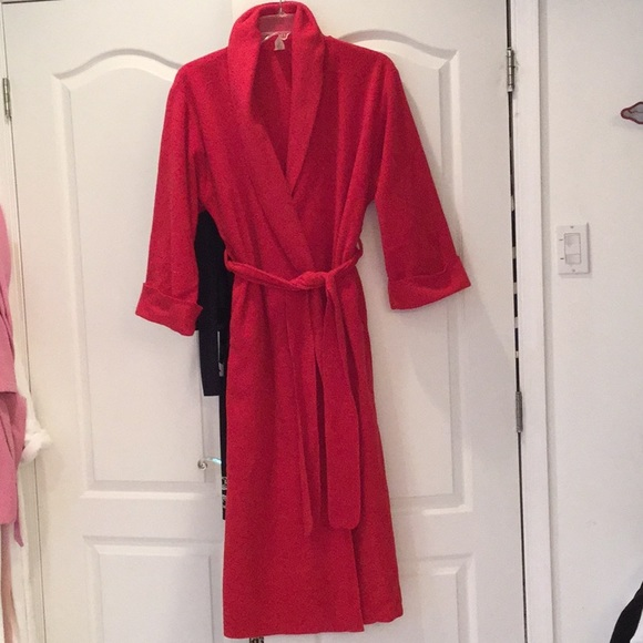 New JOSIE BY NATORI Bright Red Short Fleece Wrap Robe Size Large L LAST ONE!!